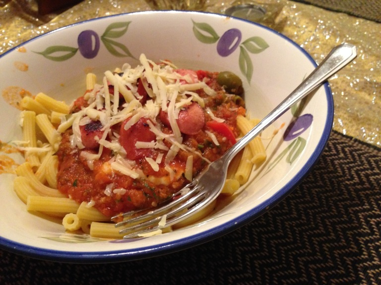 Pasta and sauce in bowl